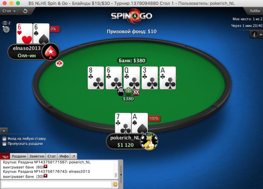 Собрал флеш по семерке и выиграл турнир в Spin and Go